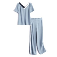 IHIMI Women Casual 2-Piece Summer Suit - Blue Photo