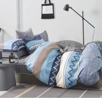 Linen Boutique - Duvet Cover 200 TC 4 Piece Set - Strips Zgzag GreyBlues Photo