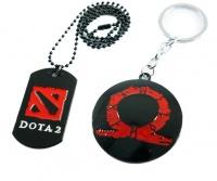 Spoonkie Pop Culture - DOTA 2 Symbol Necklace & God of Wars Symbol Keyring Combo Photo