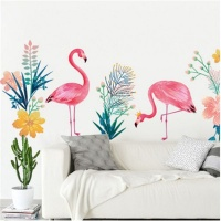 AOOYOU Floral Flamingo Vinyl Art Sticker for Wall Decoration Photo