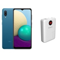 Samsung A02 Blue & Romoss 10000mAh Powerbank - Bundle Cellphone Photo