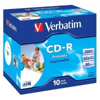 Verbatim - Printable CD-R 700MB Jewel Case - 10 Pack Photo