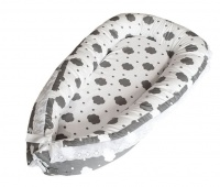 Portable Toddler Sleeper Bed White with Grey Clouds Photo