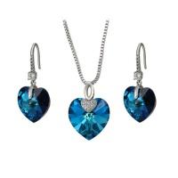 XP Heart Shaped Swarovski Embellished Crystal Set - Blue Photo