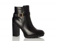Quiz Ladies Wide Fit Black Buckle Heeled Boots - Black Photo