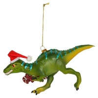 AK Glass Dino With Candy Cane Christmas Decoration Photo