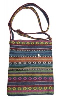 Funky Bohemian Style Colourful Material Hand Bag. Circle patterns. Photo