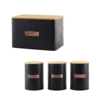Totally Home Bread Bin Steel Design with Bamboo Lid with 3 Piece Canister Set Photo
