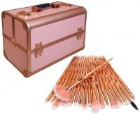 Professional Cosmetic Storage Case & 20 Piece Make Up Brush Set - Rose Gold Photo
