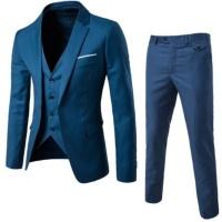 Men's 3 piece Notched Lapel Jacket Vest & Trousers Set -Maroon Photo