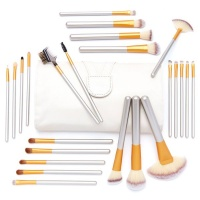 Gretmol 24-Piece Makeup Brush Set Champagne Gold with Cream Pouch Photo