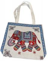 Tote Bag. Hand Bag. Large. Bohemian-Style Elephant theme Photo