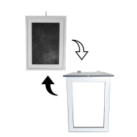 SpaceSave Fold Up Wall Mounted Kids Desk with Blackboard 80x60cm -Ice White Photo