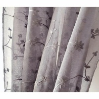 Matoc Designs Matoc Readymade Short Curtain 110cmW x 120cmH - Voile - Taped - Dove Floral 2 Pack Photo