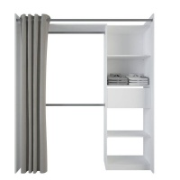 Spaceo Wardrobe Kit With 1 Drawer 2 Rails 4 shelves 1 Curtain Photo