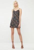 Button Through Sundress - Black Floral Photo