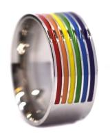 Androgyny rainbow steel ring Photo
