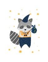 Wall Décor Canvas Art Prints for Baby Nursery: Grey Raccoon and Lion Photo