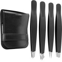 4 Pieces Professional Stainless Steel Slant Tip Eyebrow Tweezers Kit Photo
