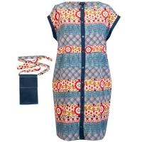 Marique Yssel Button-up Tunic & Pouch - Blue Photo