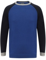 Tokyo Laundry - Mens Moffatt Raglan Sleeve Cotton Knit Jumper In Mazarine Blue Photo