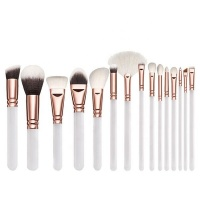 GreenLeaf White Makeup Brush Set 15 Piece with Cosmetic Bag Photo
