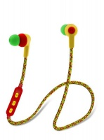 Maxell Braided cord Bluetooth wireless Earphones with built-in Mic - RASTA Photo