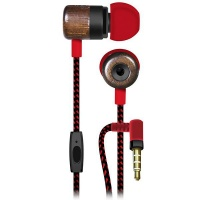 Maxell Wooden Deep Bass Silicon Earphones with Mic and braided cable - ROK Photo