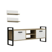 Decorist Home Gallery Sidre Safire Oak White Marble - TV Stand Photo