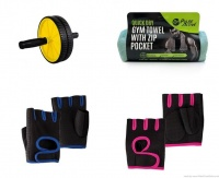 AB Wheel and Gym Towel With Blue and Pink Gloves - Combo Photo