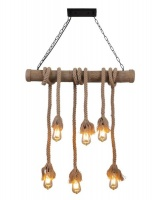JNC-Vintage Rope Pendant Light Bamboo/6 Photo