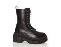 Quiz Ladies Black Faux Leather Chunky Lace Up Boots - Black Photo