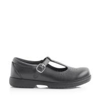 Green Cross 4182C Girls T-Bar School Shoe - Csi Black Photo
