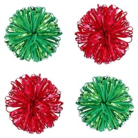 AK Christmas Wrapping - Red And Green Velvet Jellyfish Bows - Pack of 4 Photo