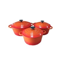 Rainbow 6 Piece Enamel Cast Iron Cookware Pot Set - Orange Photo