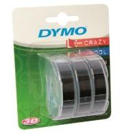 Dymo Omega Embossing 9mm x 3m White on Black Tape Cassette - Pack of 3 Photo