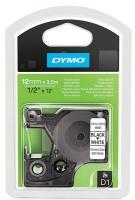 Dymo D1 12mm x 3.5m Black on White Flexible Nylon Tape Photo