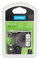 Dymo D1 19mm x 3.5m Black on White Flexible Nylon Tape Photo