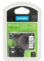 Dymo D1 12mm x 5.5m Black on White Permanent Polyester Tape Photo