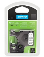 Dymo D1 19mm x 5.5m Black on White Permanent Polyester Tape Photo