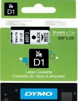 Dymo D1 Standard 9mm x 7m Black on White Label Cassette Photo