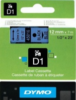 Dymo D1 Standard 12mm x 7m Black on Blue Label Cassette Photo