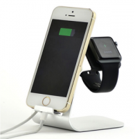 Apple Dual Charging Dock for Watch and iPhone by Zonabel - Silver Metal Photo