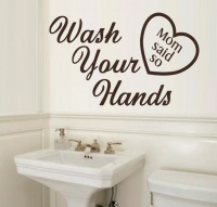 Vinyl Lady Wash Your Hands Wall Art Sticker - Brown Photo