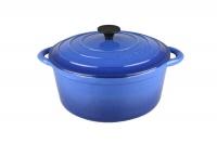 Gourmand - 4 Litre Round Cast Iron Casserole - Blue Photo
