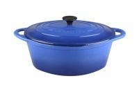 Gourmand - 4.5 Litre Oval Cast Iron Casserole - Blue Photo