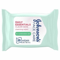 JOHNSON'S Cleansing Wipes Daily Essentials Clear Skin Combination Skin Pack of 25 wipes Photo