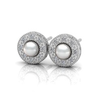 Why Jewellery Halo Diamond and Jewellery Pearl Studs - Silver Photo