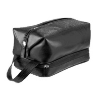 Adpel Mens Leather Toiletry Bag - Black Photo