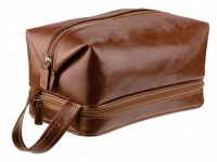Adpel Mens Leather Toiletry Bag - Brown Photo